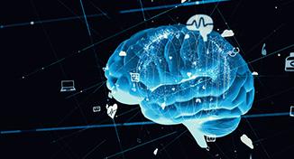 Image of Blue digital image of a brain